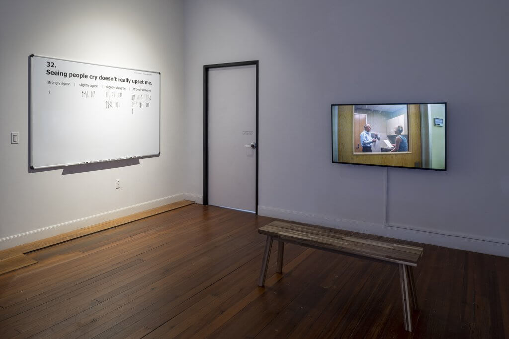 """Standardized Synchronized was exhibited in Kaisu Koski's solo show """"Rehearsals for Empathy"""" at Lawndale Art Center in Houston TX, February 7-March 9, 2020. Courtesy of Lawndale Art Center. Photo by Nash Baker."""