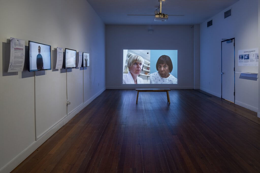 """Scenes of Disclosure was exhibited in Kaisu Koski's solo show """"Rehearsals for Empathy"""" at Lawndale Art Center in Houston TX, February 7-March 9, 2020. Courtesy of Lawndale Art Center. Photo by Nash Baker"""